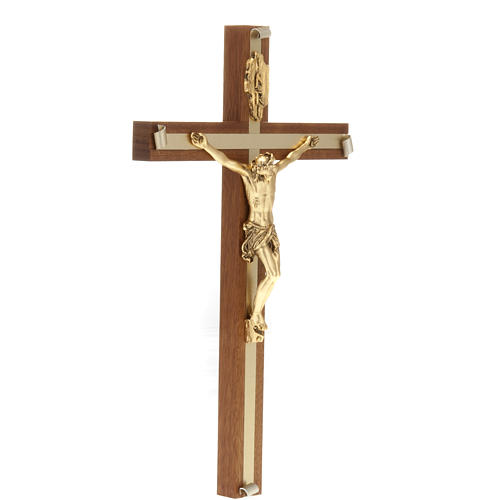 Crocifisso legno noce metallo dorato inserti alluminio 3