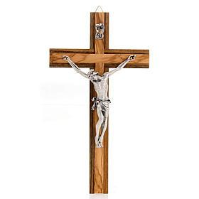 Crocifisso legno noce inserti olivo corpo metallo s1