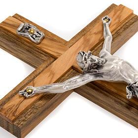 Crocifisso legno noce inserti olivo corpo metallo s2