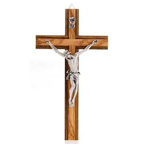 Crocifisso legno noce inserti olivo corpo metallo 1