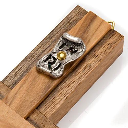 Crocifisso legno noce inserti olivo corpo metallo 3