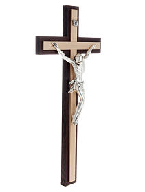 Crucifijo de madera wengè y fagus, cuerpo en metal s3