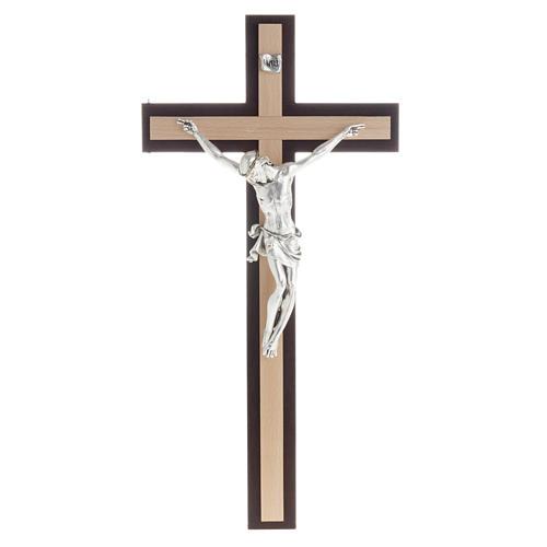 Crucifijo de madera wengè y fagus, cuerpo en metal 1