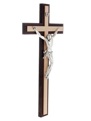 Crucifijo de madera wengè y fagus, cuerpo en metal 3