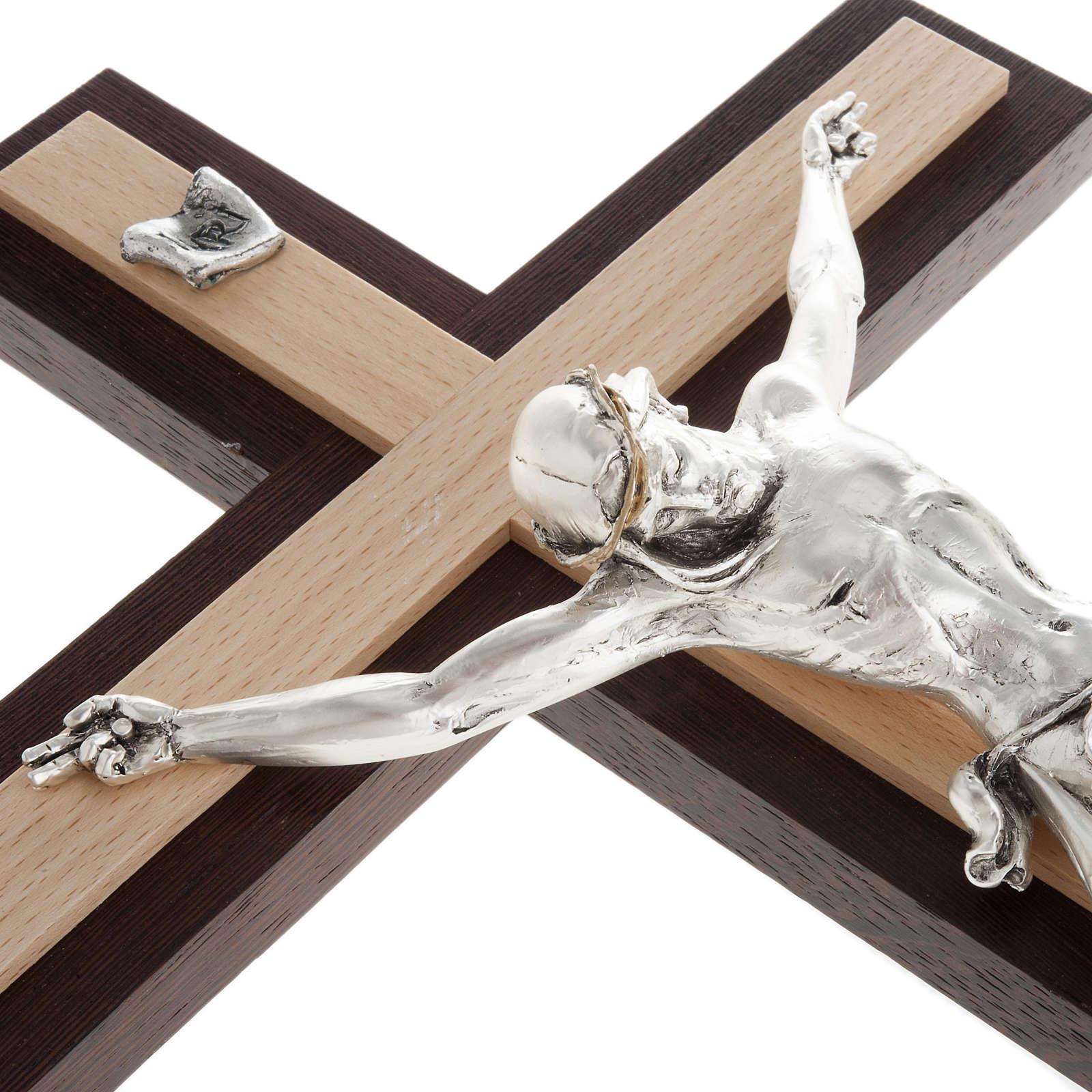 Crocifisso wengè e faggio corpo metallo argentato 4