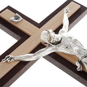 Crocifisso wengè e faggio corpo metallo argentato s5