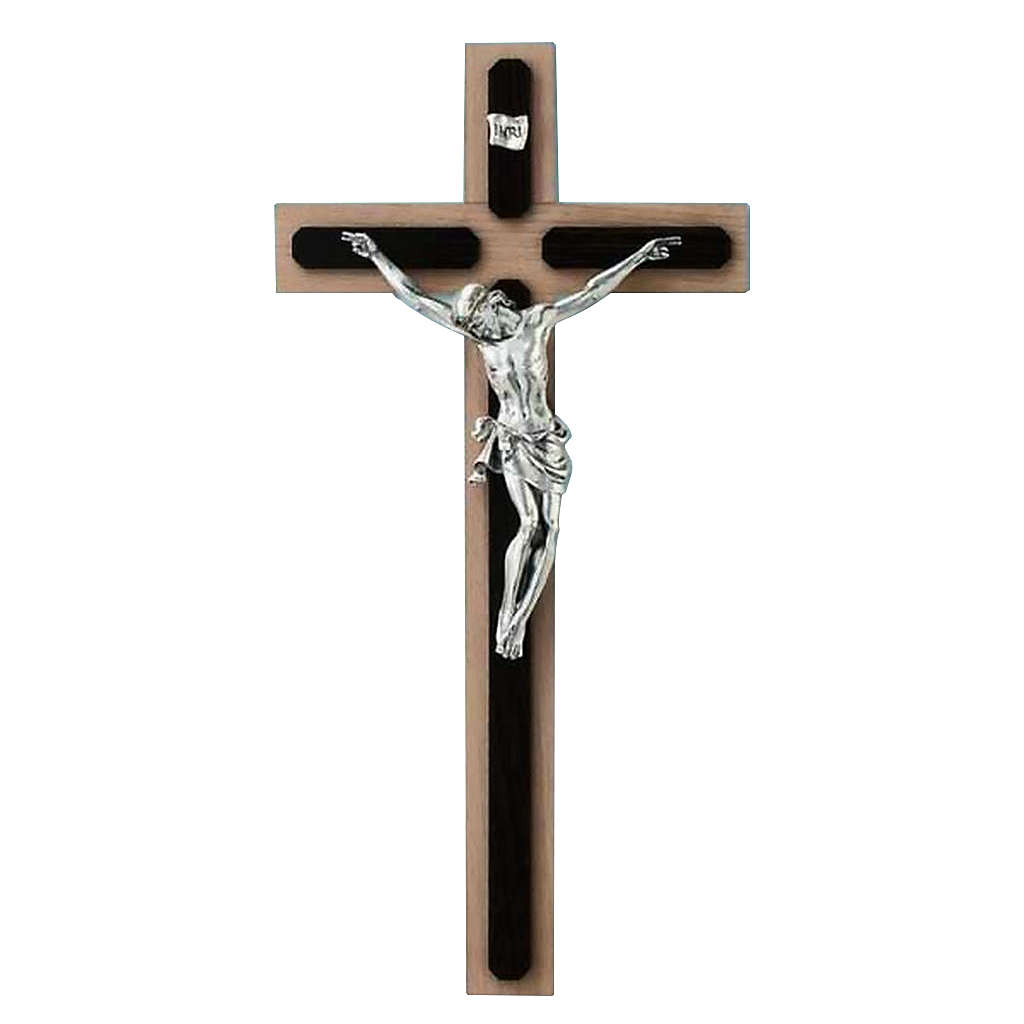 Crucifix in wenge and beech wood, silver metal cross 4