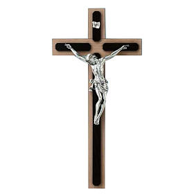 Crucifix in wenge and beech wood, silver metal cross s1