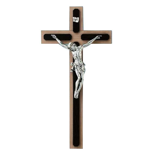 Crucifix in wenge and beech wood, silver metal cross 1