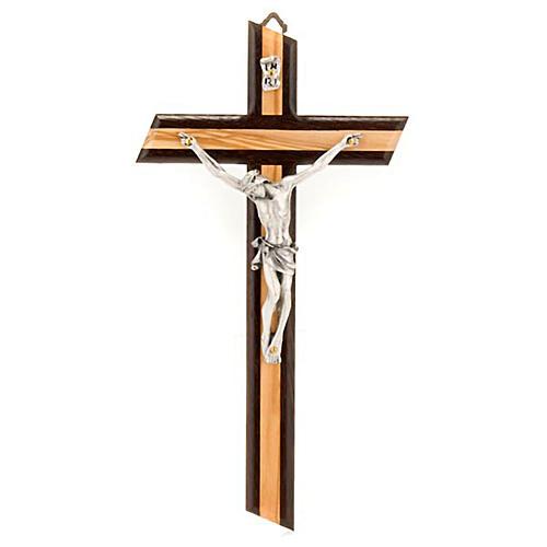 Crucifix bois d'olivier et wengè argenté 1