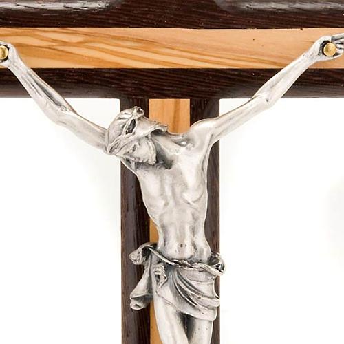 Crucifix bois d'olivier et wengè argenté 2