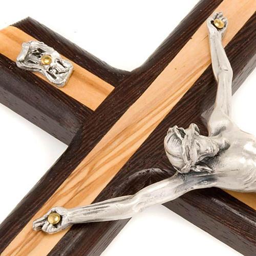 Crucifix bois d'olivier et wengè argenté 3