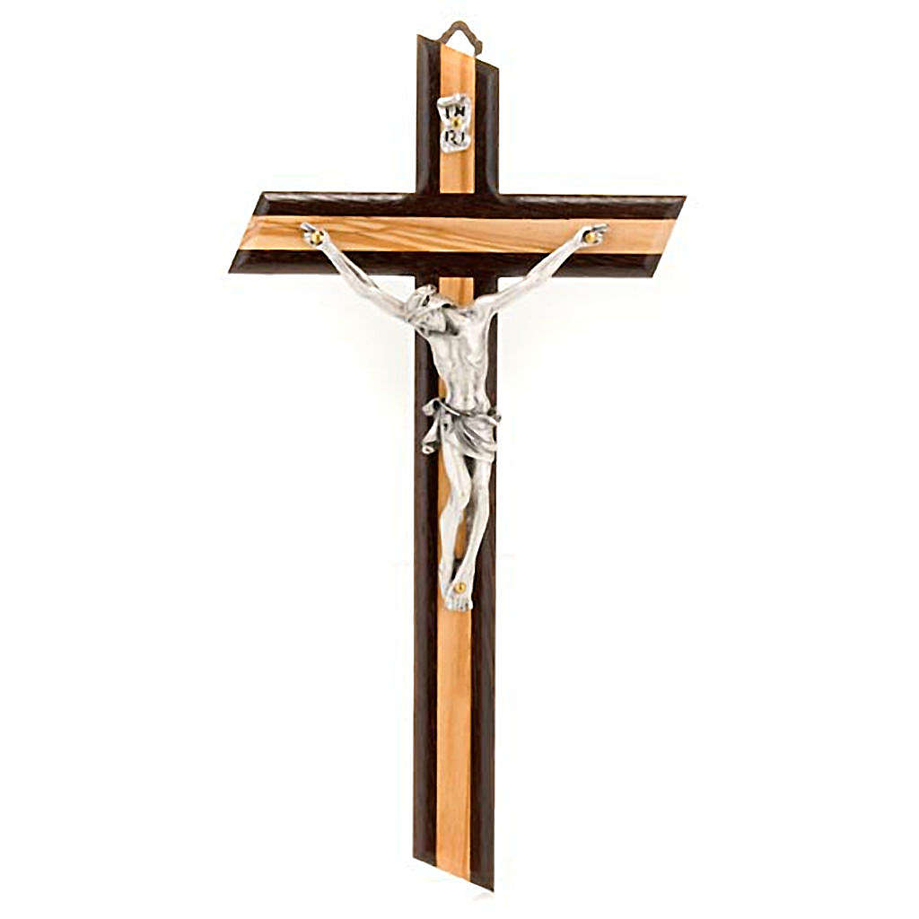Crucifix in wenge and olive wood, with silver metal 4