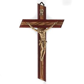 Crocifisso legno olivo e padouk corpo dorato s1