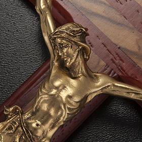 Crocifisso legno olivo e padouk corpo dorato s4