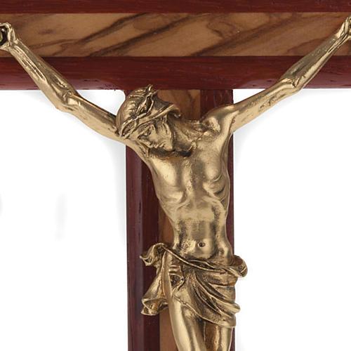 Crocifisso legno olivo e padouk corpo dorato 2