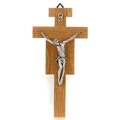 Crocefisso legno di rovere corpo argentato 23 cm 1