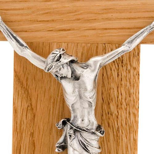 Crocefisso legno di rovere corpo argentato 23 cm 2
