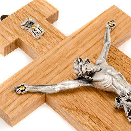 Crocefisso legno di rovere corpo argentato 23 cm 3