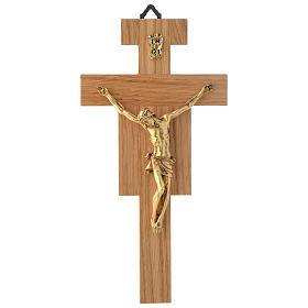 Crocefisso legno di rovere corpo dorato 20 cm s1