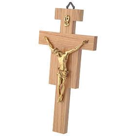 Crocefisso legno di rovere corpo dorato 20 cm s2