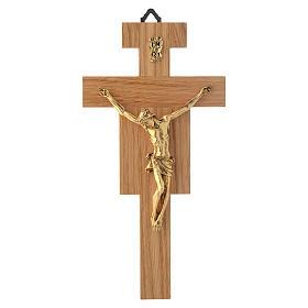 Crocefisso legno di rovere corpo dorato 20 cm s4