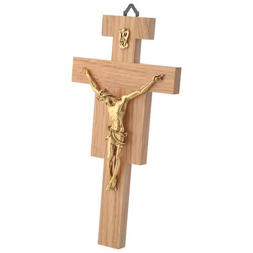 Crocefisso legno di rovere corpo dorato 20 cm 2
