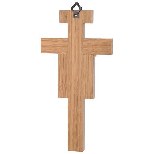 Crocefisso legno di rovere corpo dorato 20 cm 3