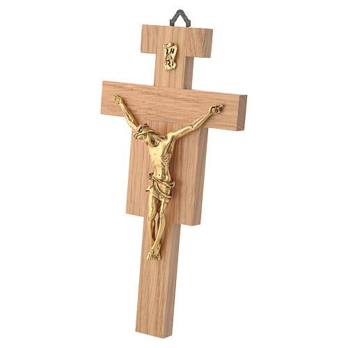 Crocefisso legno di rovere corpo dorato 20 cm 5