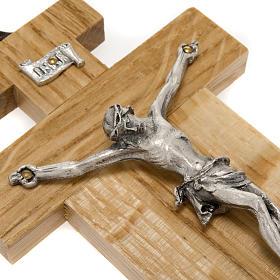 Crocefisso legno di rovere corpo argentato 12 cm s3