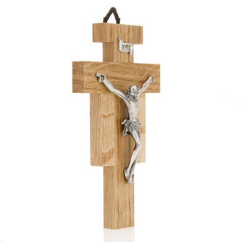 Crocefisso legno di rovere corpo argentato 12 cm 2
