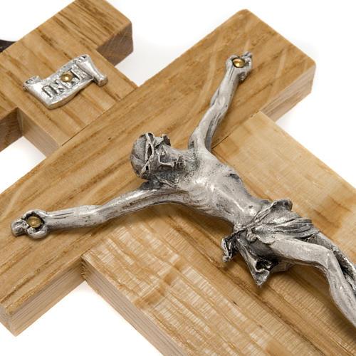 Crocefisso legno di rovere corpo argentato 12 cm 3