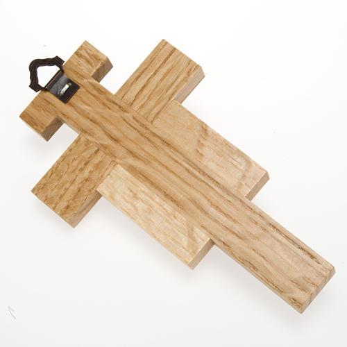 Crocefisso legno di rovere corpo argentato 12 cm 4