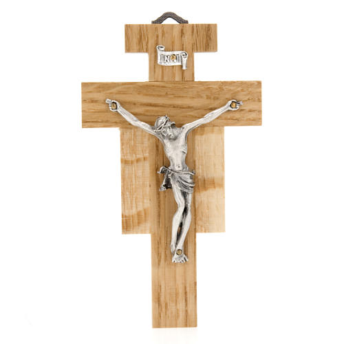 Crucifix in oak wood with silver body 12cm 1