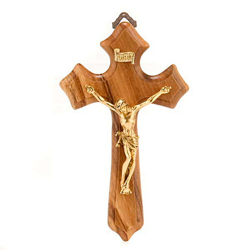 Crucifix in olive wood with 3 points, body in golden metal 4