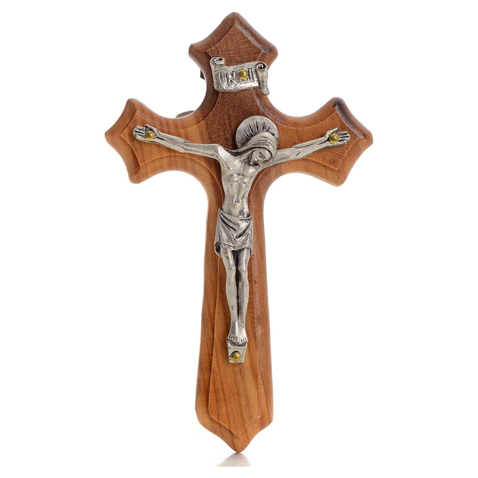 Crucifijo  olivo tres puntas, cuerpo plateado 4