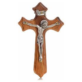 Crucifijo  olivo tres puntas, cuerpo plateado s1