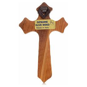 Crucifijo  olivo tres puntas, cuerpo plateado s2