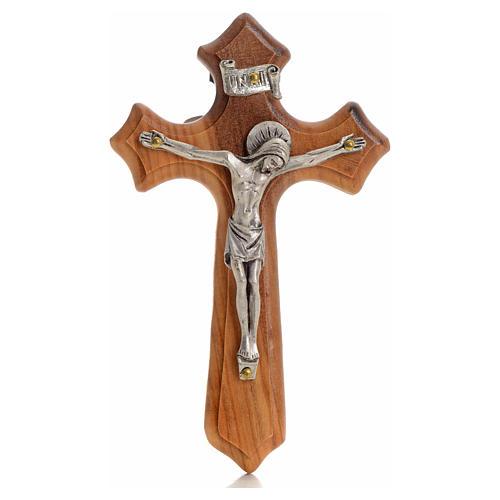 Crucifijo  olivo tres puntas, cuerpo plateado 1