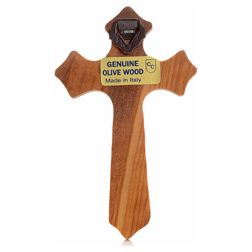 Crucifijo  olivo tres puntas, cuerpo plateado 2
