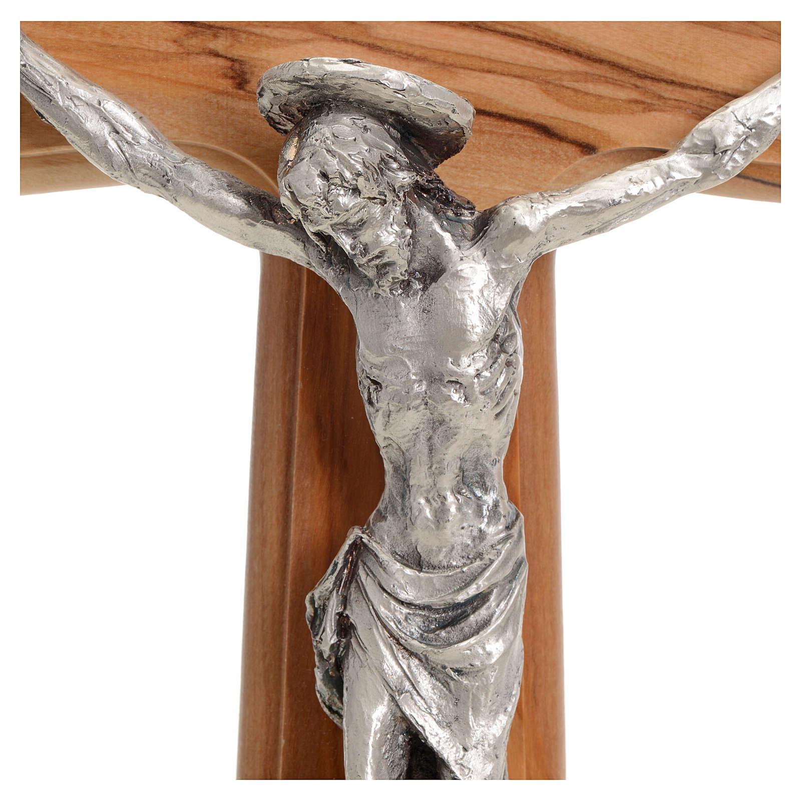Crocefisso corpo argentato su croce olivo cm 30 4