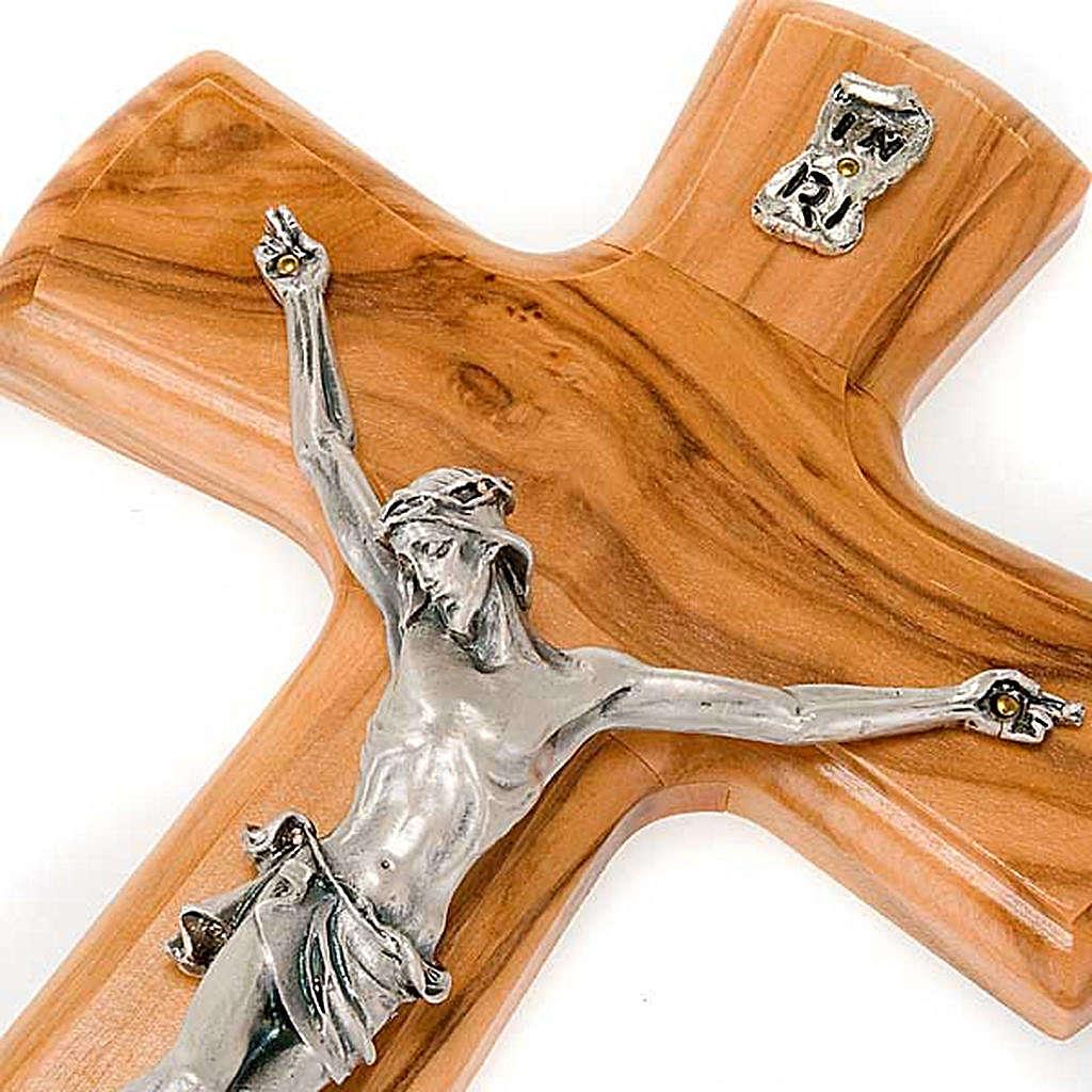 Crocefisso legno olivo corpo argentato 4