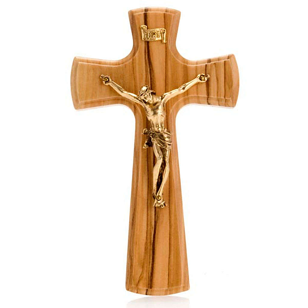 Kruzifix aus Olivenholz und Metall mit Rand Gold Finish 4