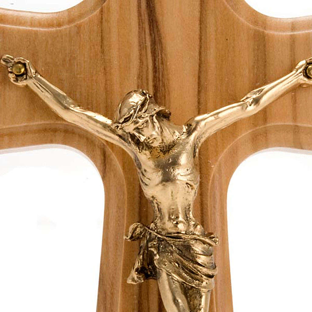 Crucifix, Christ's body in golden metal and olive wood cross 4