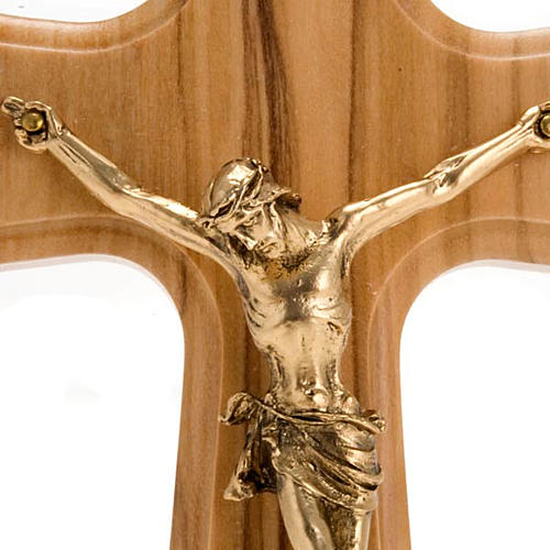 Crucifix bois d'olivier, corps doré 2