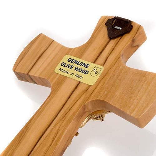 Crucifix bois d'olivier, corps doré 3