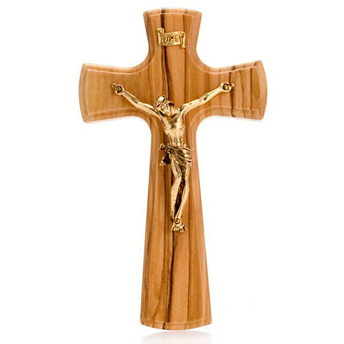 Crucifix, Christ's body in golden metal and olive wood cross 1