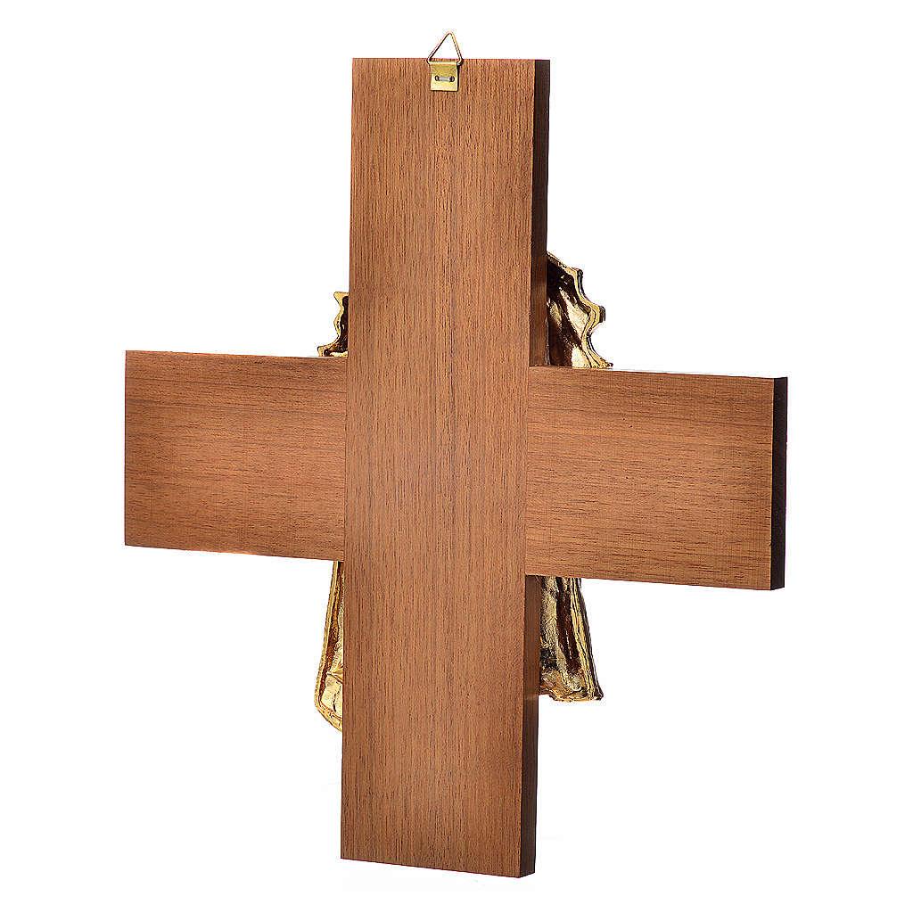 Croce legno noce volto di Cristo metallo 4
