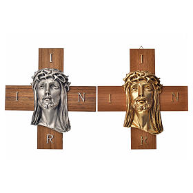 Croce legno noce volto di Cristo metallo s5
