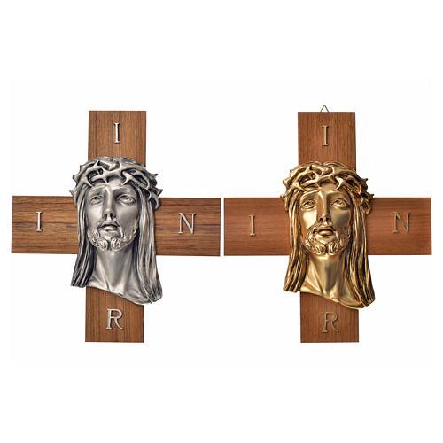 Croce legno noce volto di Cristo metallo 5
